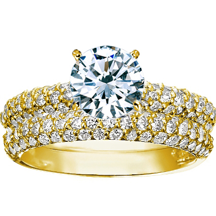 Yellow Gold Round Top Diamond