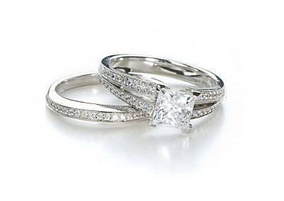 diamond and platinum engagement and wedding band