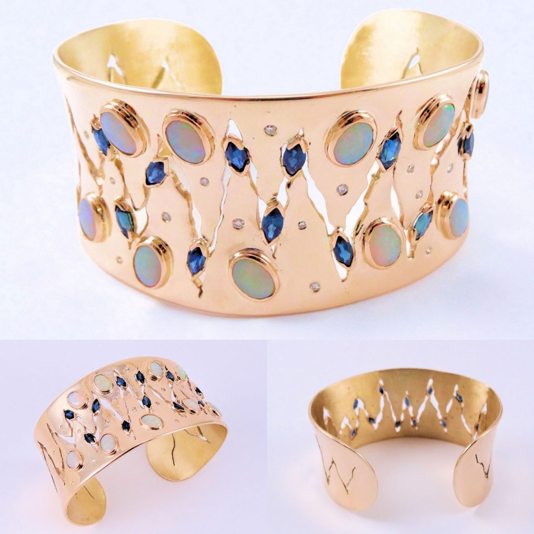 Australian Opal Blue Marquies Sapphires Gold & Diamond Bangle,Jewellers Mackay,jewellery maintenance,