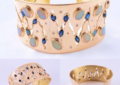 Australian Opal Blue Marquies Sapphires Gold & Diamond Bangle