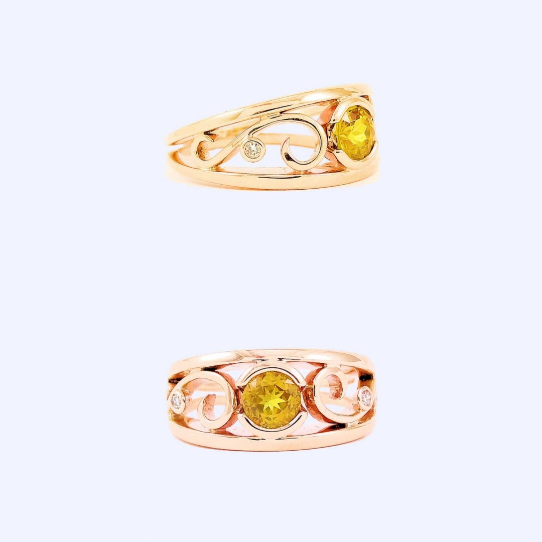 Golden Yellow Australian Sapphire & Diamonds