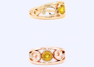 Golden Yellow Australian Sapphire set with Diamonds with an antique touch