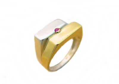 Designer Jewellers Proserpine,designer jeweller,9ct Yellow Gold And Silver Mens' Ring Set With Cabachon Ruby