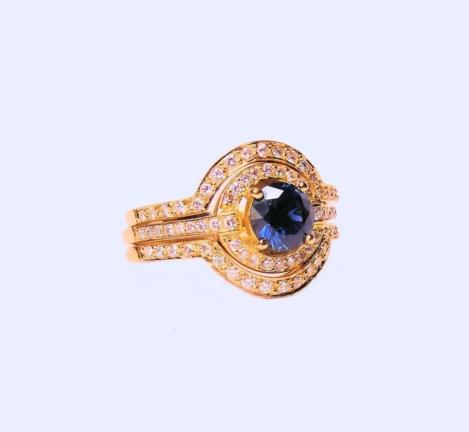 Australian Blue Sapphire and Diamond Engagement Ring,Designer Jewellers Proserpine, designer jeweller