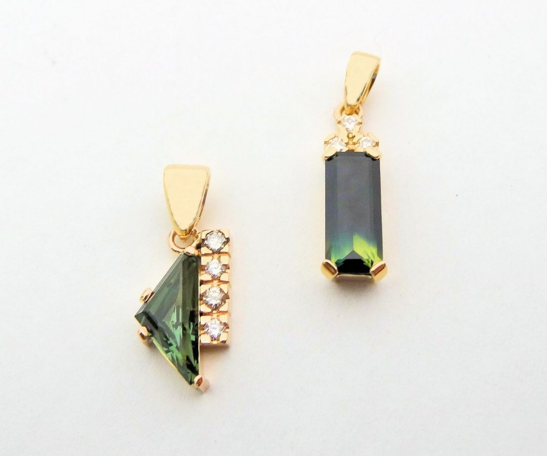 Australian Sapphire & Diamond Pendants